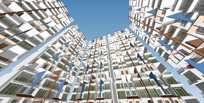 Panoramastadtbild Skizze Architekturskizze - Illustration 3D stock abbildung