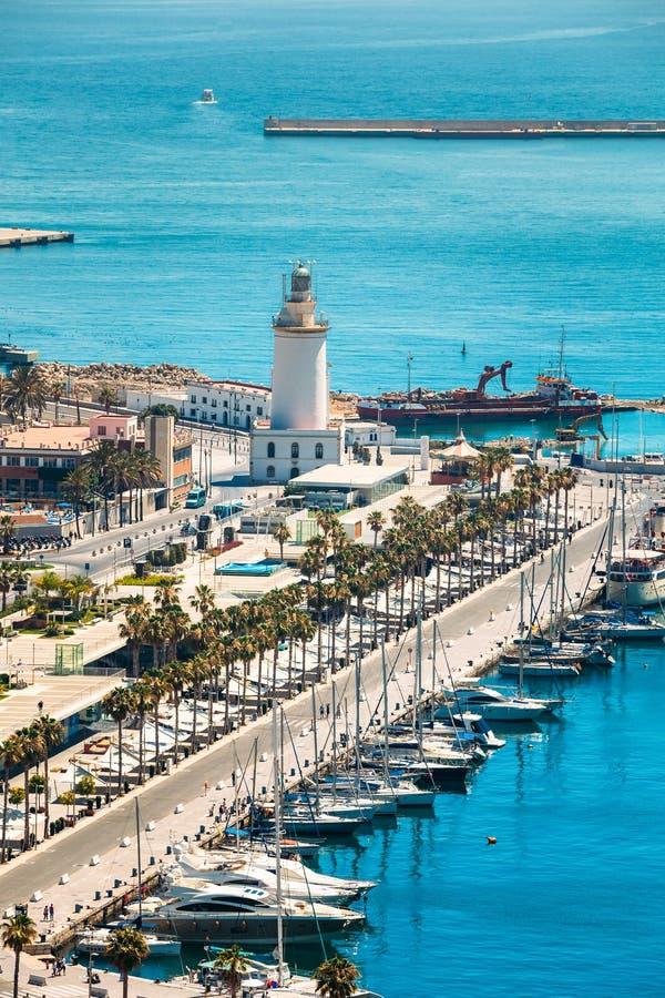 Panoramastadtbildvogelperspektive von Màlaga, Spanien stockbild