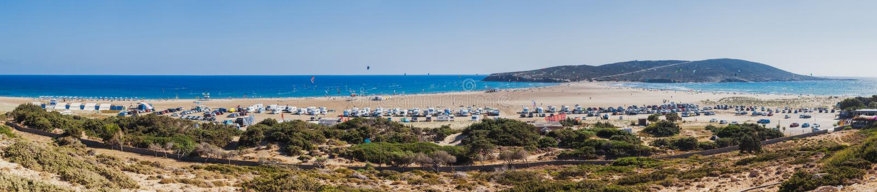 Panoramastrand Prasonisi Rhodes ö Grekland royaltyfria bilder