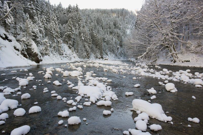Panoramaszene mit Eis und Schnee in Fluss im Bayern lizenzfreies stockbild