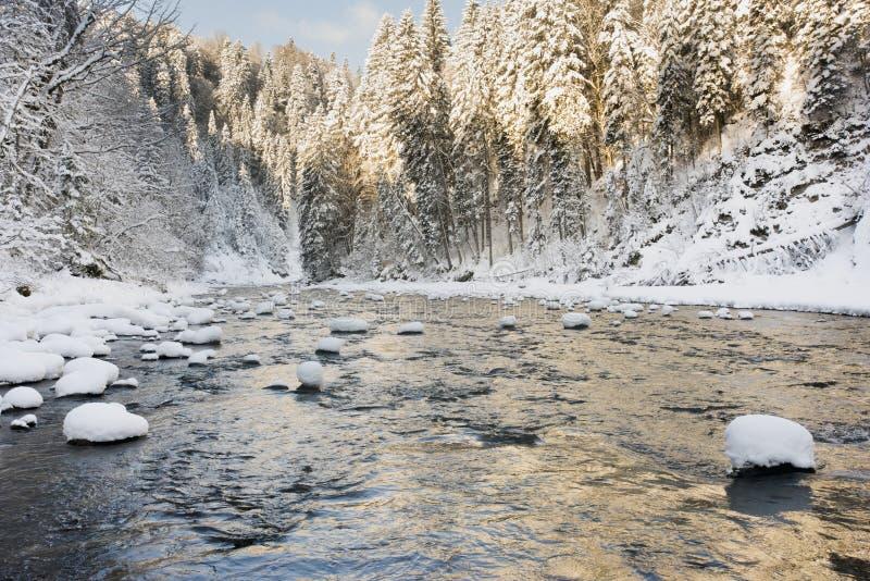 Panoramaszene mit Eis und Schnee in Fluss im Bayern, Deutschland stockfotos