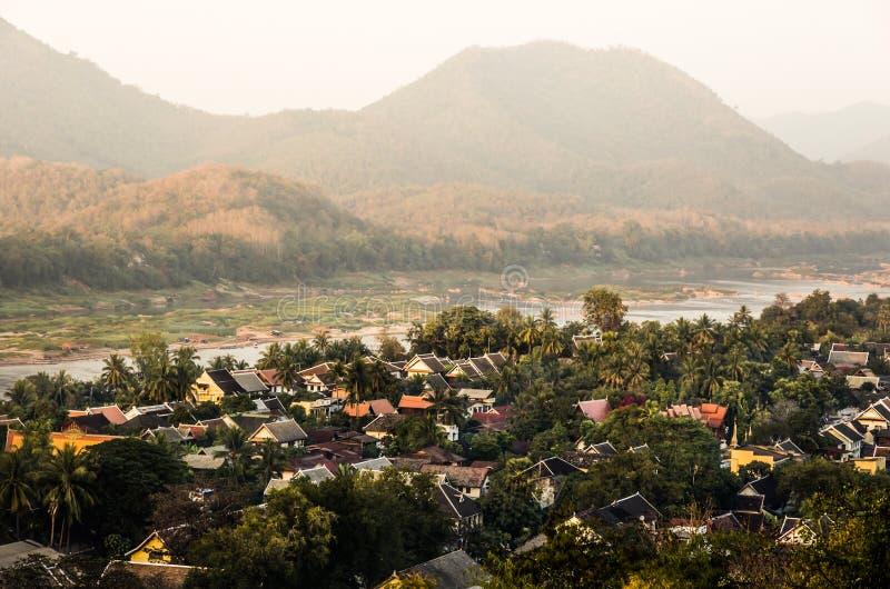 Mekong River från ovannämnt - Luang Prabang, Laos arkivfoton