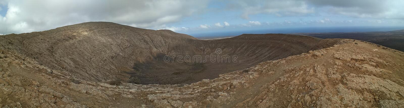 Panoramatic photo of a crater. View from the top of caldera blanca stock images