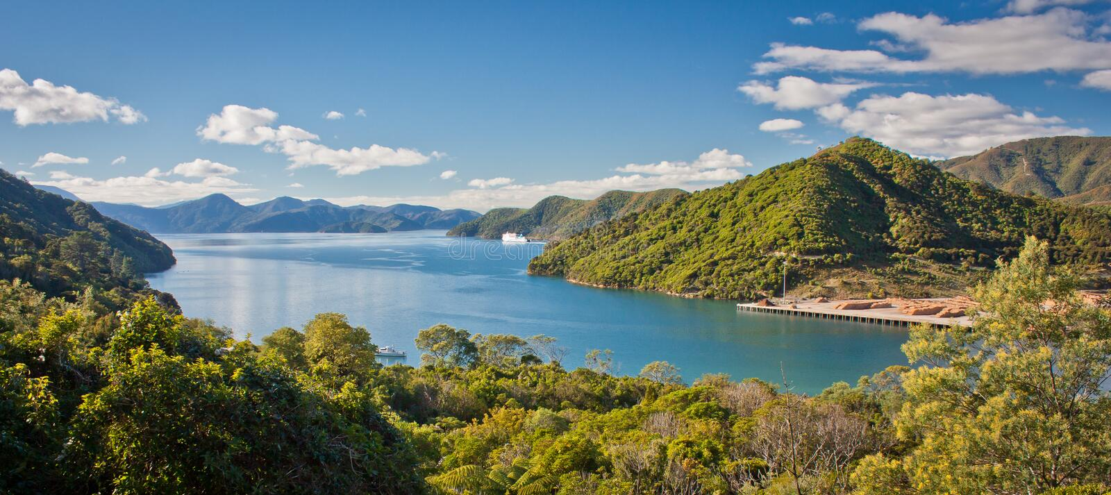 Panoramatic view of Cook Inlet from Queen Charlotte Drive near Picton, Marlborough departament, New Zealand stock image