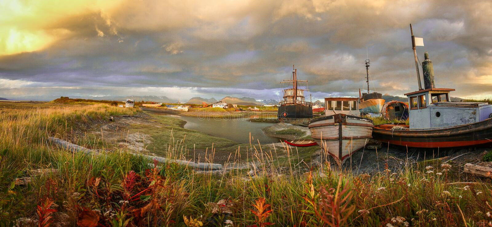 Panoramatic view of old harbor in town of Homer in Alaska. Rustic life in Homer town royalty free stock image