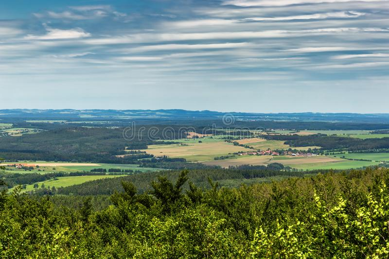 Panoramatic view of the South Bohemia and surrounding landscape, Czech Republic.  royalty free stock photography