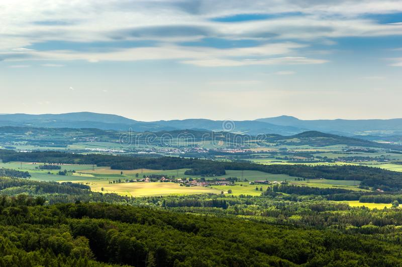 Panoramatic view of the South Bohemia and surrounding landscape, Czech Republic.  royalty free stock photo