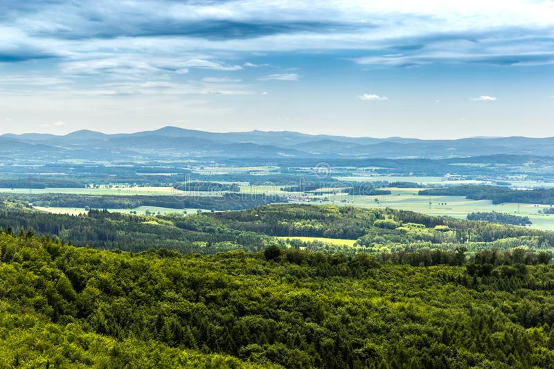 Panoramatic view of the South Bohemia and surrounding landscape, Czech Republic.  stock images