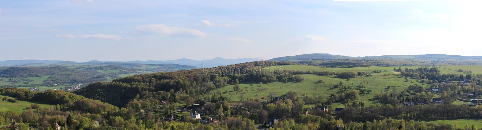 Panoramatic weiv from mountain to village Tisa.  royalty free stock image