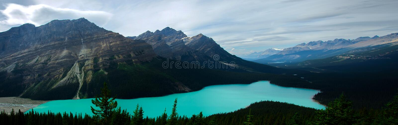 Panoramaticmening van Peyto-Meer in Rocky Mountains stock foto