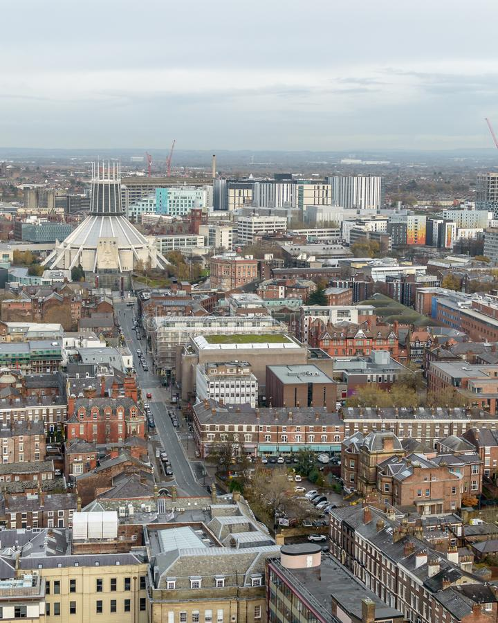Panoramatisk vy över Liverpool - Nord Side Cityscape fotografering för bildbyråer