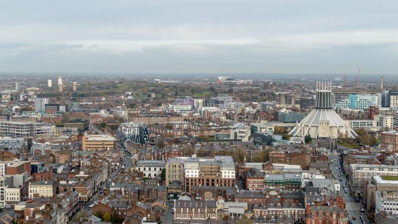 Panoramatisk vy över Liverpool - nordsida royaltyfria foton