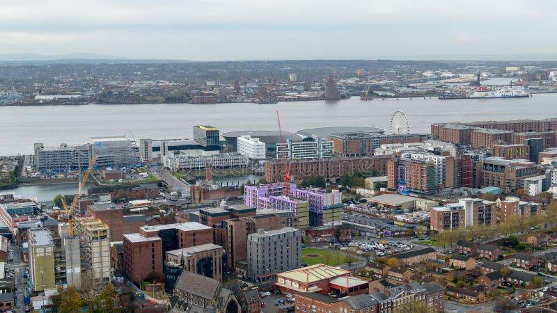 Panoramatisk vy över Liverpool - Väst royaltyfri fotografi