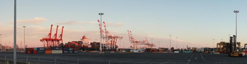 Panoramatiska vyer av långa portkranar som står höga och lastar ett fartyg i hamn med transportbehållare i Port Melbourne. royaltyfria foton