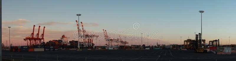 Panoramatiska vyer av långa portkranar som står höga och lastar ett fartyg i hamn med transportbehållare i Port Melbourne. arkivbild