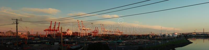 Panoramatiska vyer av långa portkranar som står höga och lastar ett fartyg i hamn med transportbehållare i Port Melbourne. royaltyfri foto