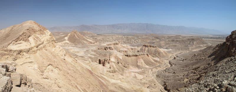 Panoramautsikt över för arava den Judaean vally öknen nära eilat, Israel royaltyfri fotografi