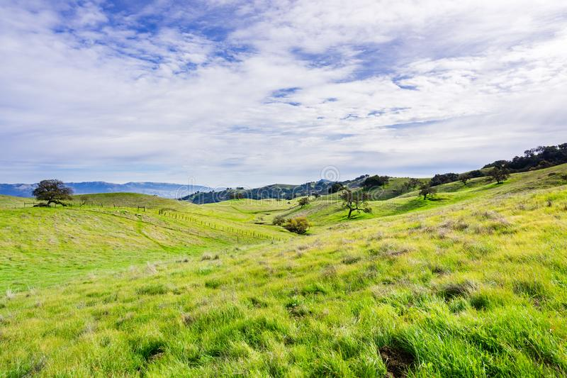 Panoramautsikt över kullarna och dalen av sylten för prärievargdalöppet utrymme, Morgan Hill, södra San Francisco Bay område, royaltyfri fotografi