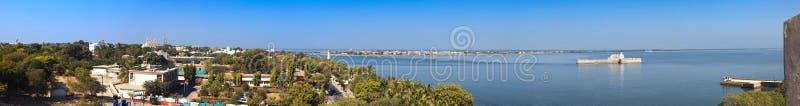 Panoramautsikt av ön Diu royaltyfri bild
