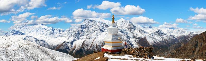 Panoramautsikt av Annapurna område, Nepal royaltyfri bild