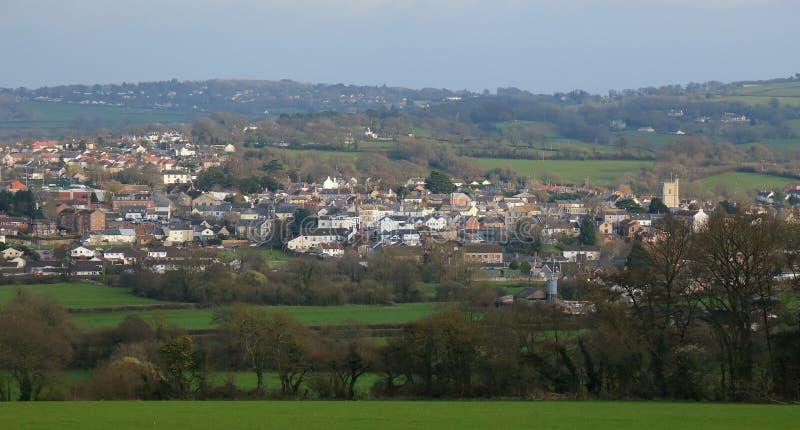 Panoramautsikt av Axminster royaltyfria foton