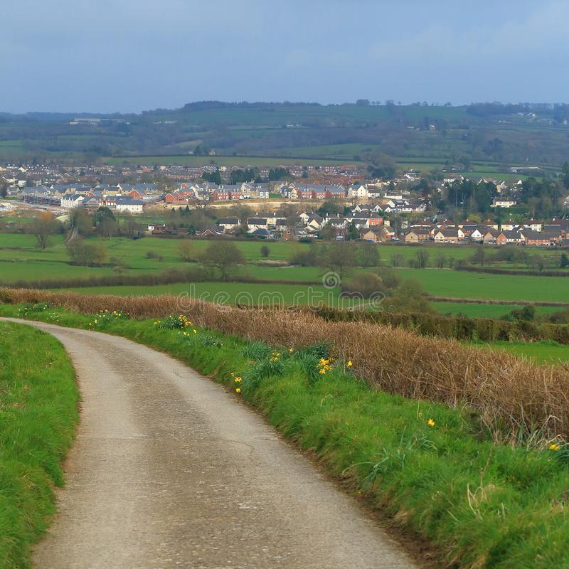 Panoramautsikt av Axminster royaltyfri foto