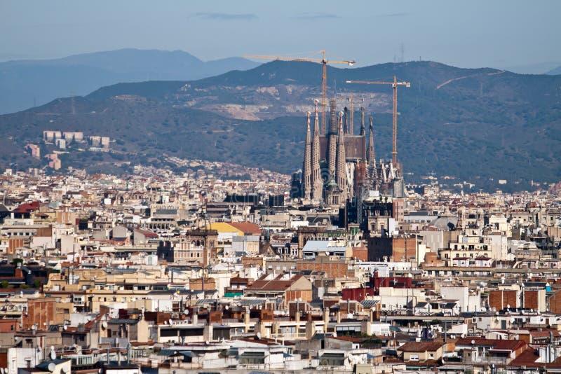 Panoramautsikt av Barcelona, Spanien arkivbild