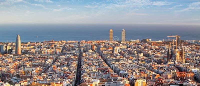 Panoramautsikt av Barcelona, Spanien royaltyfri foto