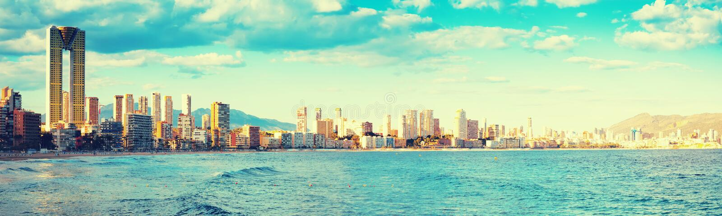 Panoramautsikt av Benidorm arkivfoto