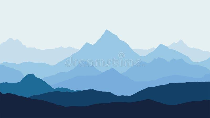 Panoramautsikt av berglandskapet med dimma i dalen under med den blåa himlen för alpenglow och resningsolen royaltyfri illustrationer
