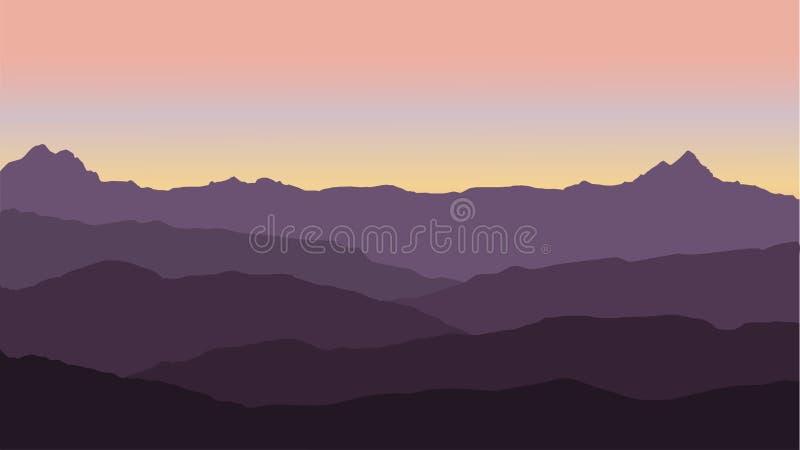 Panoramautsikt av berglandskapet med dimma i dalen under med den rosa himlen för alpenglow och resningsolen stock illustrationer
