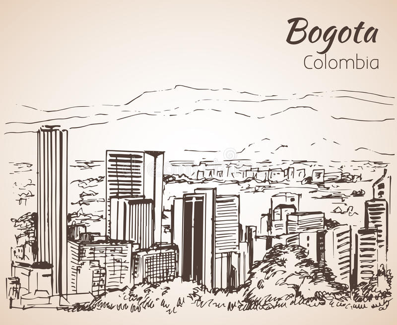 Panoramautsikt av Bogota skissa vektor illustrationer