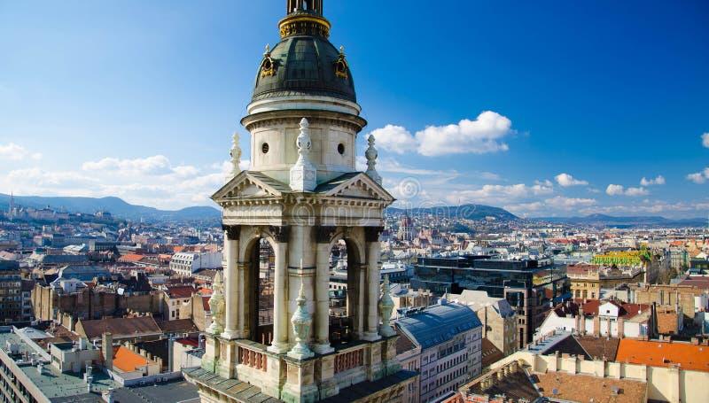 Panoramautsikt av Budapest från helgonet Stephens Basilica, Ungern arkivfoto