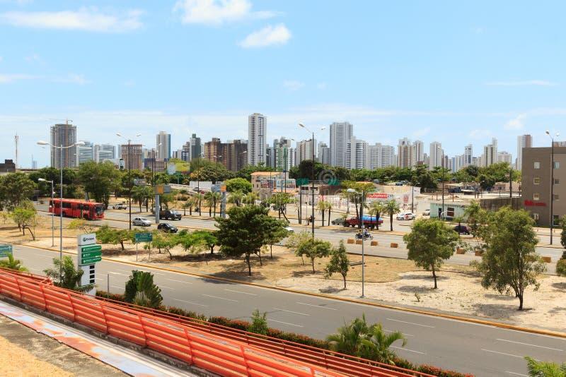 Panoramautsikt av byggnader, hotell i Recife, Brasilien arkivbild