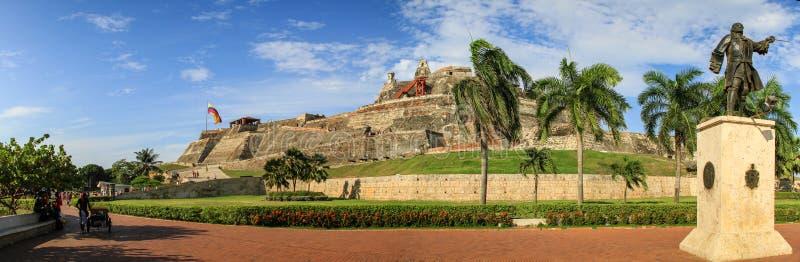 Panoramautsikt av Castillo San Felipe de Barajas, Cartagena de Indias, Colombia royaltyfria foton