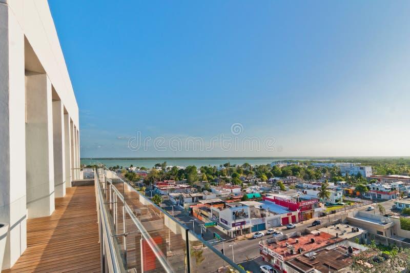 Panoramautsikt av centret i Chetumal, Mexico arkivfoto