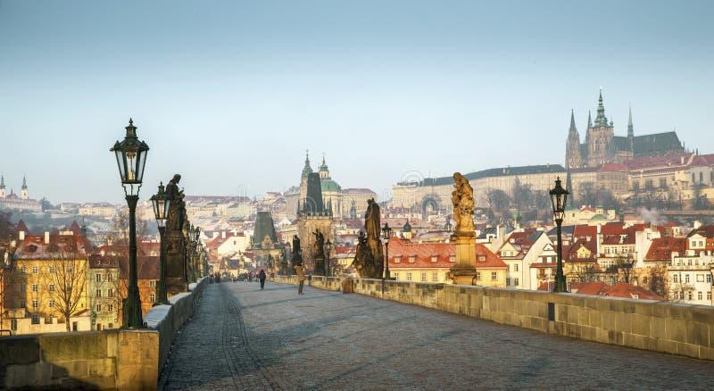 Panoramautsikt av Charles Bridge i Prague, Tjeckien royaltyfria foton