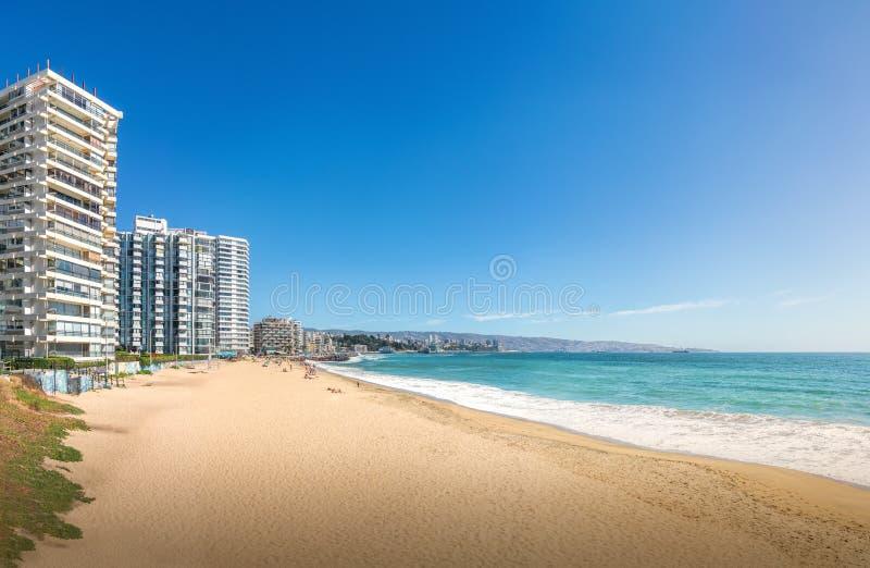 Panoramautsikt av den Acapulco stranden i Vina del Mar, Chile arkivbilder