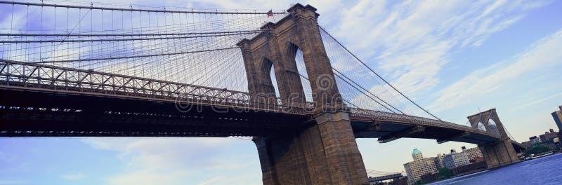 Panoramautsikt av den East River och Brooklyn bron som fäller ned Manhattan, New York City, NY arkivbilder