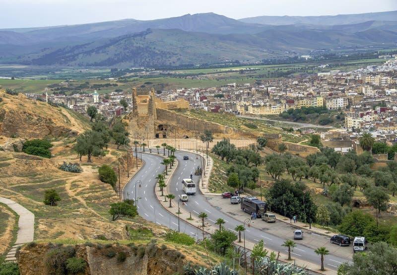 Panoramautsikt av den Fez Fes mitten, Marocko fotografering för bildbyråer