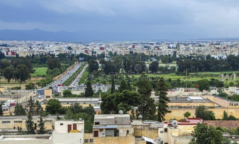 Panoramautsikt av den Fez Fes mitten, Marocko arkivfoto