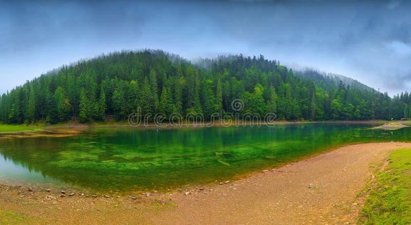 Panoramautsikt av den härliga sjön i berg Prydlig skog in royaltyfria bilder