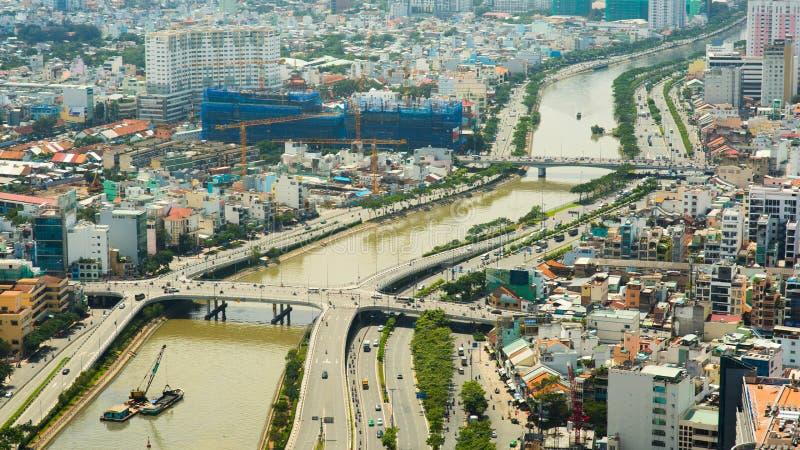 Panoramautsikt av den Ho Chi Minh staden eller Saigon vietnam arkivbild