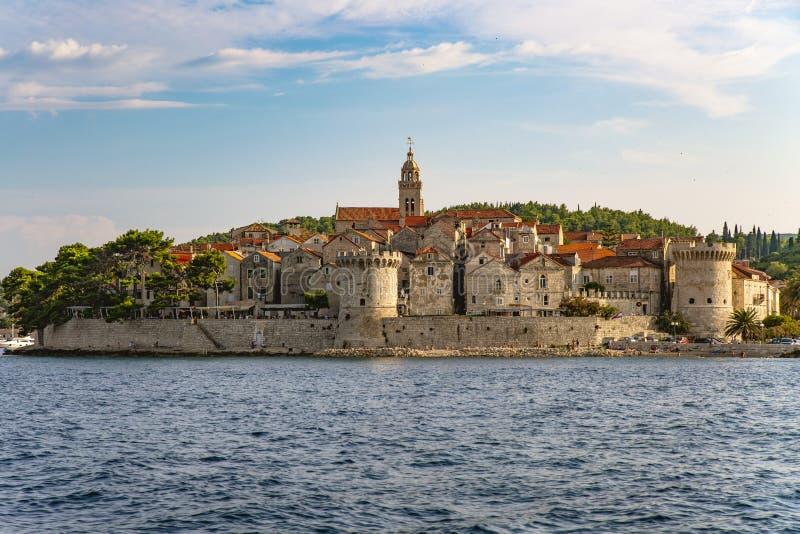 Panoramautsikt av den Korcula staden, Korcula ö, Dalmatia, Kroatien arkivbild