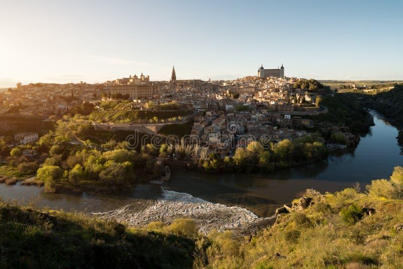 Panoramautsikt av den medeltida mitten av staden av Toledo, Spa arkivbild