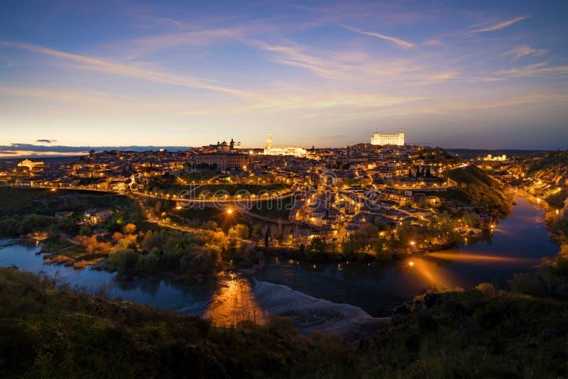 Panoramautsikt av den medeltida mitten av staden av Toledo, Spa royaltyfria foton