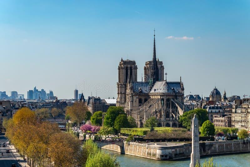Panoramautsikt av den Notre Dame de Paris domkyrkan på dess bak arkivfoto