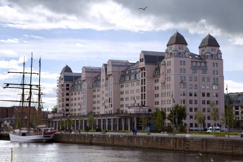 Panoramautsikt av den Oslo staden arkivbilder