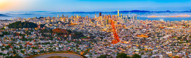 Panoramautsikt av den San Francisco staden royaltyfria bilder