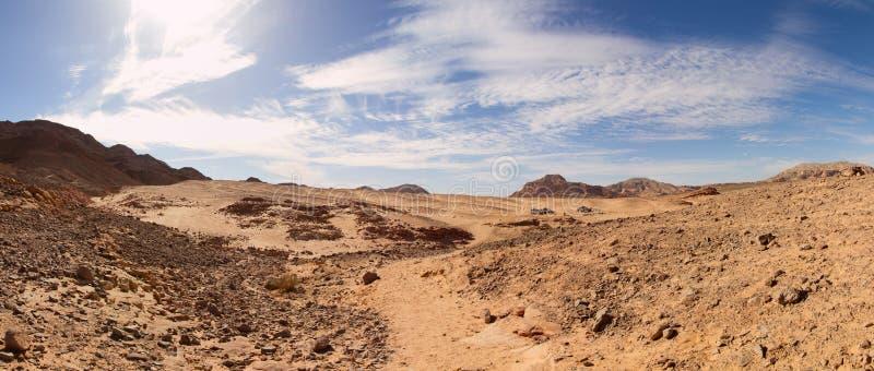 Panoramautsikt av den Sinai öknen, Egypten arkivfoto